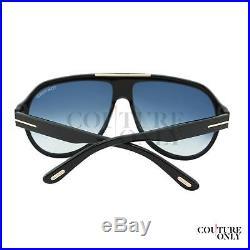$445 Tom Ford Truman FT0464 01W Men Black Gold Details T-Logo Aviator Sunglasses