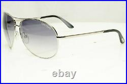 Authentic TOM FORD Mens Sunglasses Pilot Silver Metal Grey Charles TF35 753