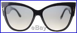 Authentic Tom Ford Anoushka FT0371 TF 371 01B Black Large Cat Eye Sunglasses