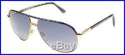Authentic Tom Ford Cole FT0285 TF 285 01B Shiny Black Metal Aviator Sunglasses