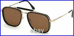 Authentic Tom Ford FT 0665 Huck 01E Shiny Black/Shiny Rose Gold Sunglasses