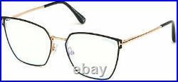 Authentic Tom Ford FT 5574 B 001 Black Enamel/Shiny Rose Gold Eyeglasses