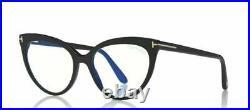 Authentic Tom Ford FT 5674-B 001 Shiny Black/Blue Block Cat Eye Women Eyeglasses