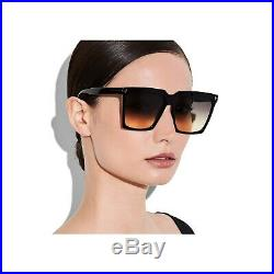 Authentic Tom Ford FT0764 764 01B Sabrina Shiny Black/Smoke Gradient Sunglasses