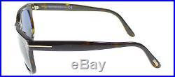 Authentic Tom Ford Leo FT0336 TF 336 56R Dark Havana Rectangle Sunglasses