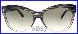 Authentic Tom Ford Lilly TF 430 20P Grey Peach Sunglasses Green Gradient Lens