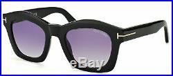 Authentic Tom Ford TF 431 01Z Greta Shiny Black Sunglasses Grey Gradient Lens
