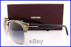 Brand New Tom Ford Sunglasses FT 367 River 60B Olive Horn/Blue Gradient For Men