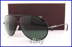 Brand New Tom Ford Sunglasses FT 450 Cliff 02N Matte Black/Green Men Aviator