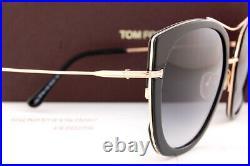 Brand New Tom Ford Sunglasses Joey FT 0760 01B Black Gold/Gray Gradient Women