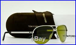 NEW TOM FORD MARKO TF144 18N Shiny Rhodium Aviator Frame Green 58mm Lenses