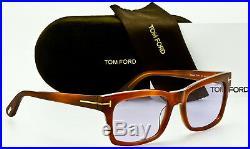 NEW TOM FORD MEN'S FREDERIK TF494 53Y Blonde Havana Frame Violet 54mm Lenses
