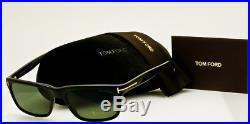 NEW TOM FORD MENS HUGH TF337 01N Polished Black Frame Grey Polarized Lenses