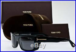 NEW TOM FORD MENS TOBY TF440/S 01A Polished Black Gold Frame Grey 56mm Lenses