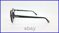 NEW Tom Ford Blue Block FT5606-F-B/V 001 49mm Black Gold Round AUTHENTIC 5606