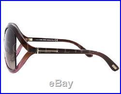NEW Tom Ford FT0297-50F TF 297 Sandra Dark Brown Transparent Burgundy Sunglasses