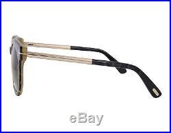 NEW Tom Ford FT0435 01K Janina Shiny Black / Brown Gradient Sunglasses