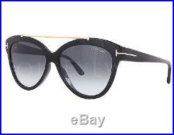 NEW Tom Ford FT0518 Livia 01B Shiny Black Gold / Grey Gradient Sunglasses