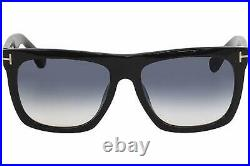 NEW Tom Ford Morgan FT0513 01W 57mm Shiny Black / Blue Gradient Lens