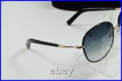 NEW Tom Ford Sunglasses Black Gold Round Aviator Georgia FT0498 01B 59/17/140