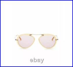 NIB Tom Ford TF Aaron 53mm Aviator Sunglasses Yellowithviolet $415