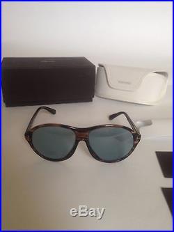 NWT Tom Ford Tyler Acetate Oval Frame Blue Tempered Lense Sunglass 60 mm FT0398