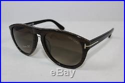 New Authentic TOM FORD KURT TF9347-05K Wood Streak / Brown Gradient Sunglasses