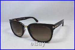 New Authentic TOM FORD ROCK TF290-01F Shiny Black Gold/Brown Gradient Sunglasses