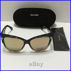 New Authentic Tom Ford Anoushka TF371 20G Shiny Black/ Gold Mirror Sunglasses