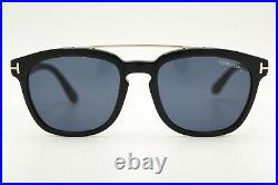 New Authentic Tom Ford Holt 516 01A Black Gold Mens Sunglasses 54-19-145 WithCase