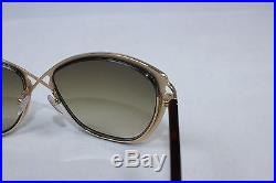 aadd789ad15da New TOM FORD CELIA TF322-28F Brown Shiny Rose Gold   Brown Gradient  Sunglasses