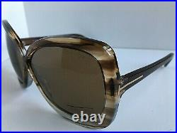 New Tom Ford 63mm Havana Oversized Butterfly Women's Sunglasses