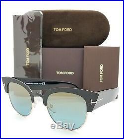 New Tom Ford Alexandra-02 sunglasses FT0607/S 05X 51mm Black Gold Blue Goldtone
