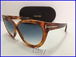 New Tom Ford Arabella TF511 53W Orange/Blue Gradient Womens Sunglasses Authentic