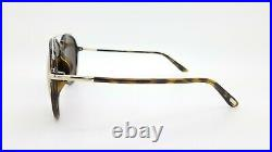 New Tom Ford Aviator sunglasses FT0637-K/S 52J 62mm Havana Gold Brown AUTHENTIC