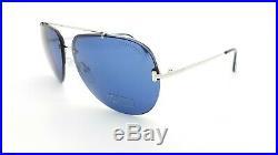New Tom Ford Brad-02 sunglasses FT0584/S 16V 63mm Shiny Palladium Blue Aviator