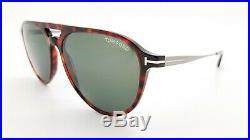 New Tom Ford Carlo-02 sunglasses FT0587 54N 58mm Dark Havana Grey GENUINE Pilot