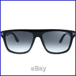 New Tom Ford Cecilio-02 TF 628 01B Black Plastic Sunglasses Grey Gradient Lens