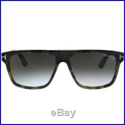 New Tom Ford Cecilio-02 TF 628 55B Green Havana Sunglasses Grey Gradient Lens