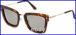 New Tom Ford Coloured Havana Lara Square Sunglasses Lens Category 2 FT0573 55A