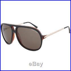 New Tom Ford Damian Unisex Black/Havana Brown Plastic Lens Sunglasses FT0333 03B