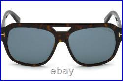 New Tom Ford Dark Havana Bachardy Square Pilot Plastic Sunglasses FT0630 52V