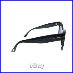 New Tom Ford Karina-02 TF 612 01B Black Plastic Sunglasses Grey Gradient Lens