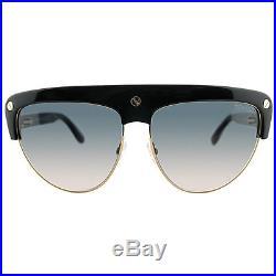 New Tom Ford Liane TF 318 01B Black Plastic Sunglasses Grey Gradient Lens
