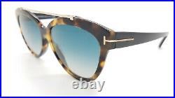 New Tom Ford Livia sunglasses FT0518 56W 58mm Light Havana Blue Gradient GENUINE