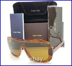 New Tom Ford Porfirio sunglasses FT0559 53E Light Havana Brown AUTHENTIC Shield
