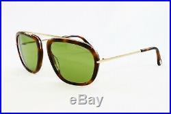 New! Tom Ford Sunglasses Johnson FT0453-52N Dark Havana & Gold Size 57 WithCase