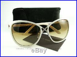 New Tom Ford Sunglasses TF 322 Celia 32F Ivory Gold FT0322/S Authentic