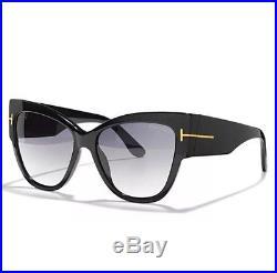 New Tom Ford Sunglasses TF 371 Anoushka Black 01B 57mm Women Cateye Italy withCase