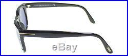 New Tom Ford TF 336 Leo 01V Black Wayfarer Sunglasses Blue Lens